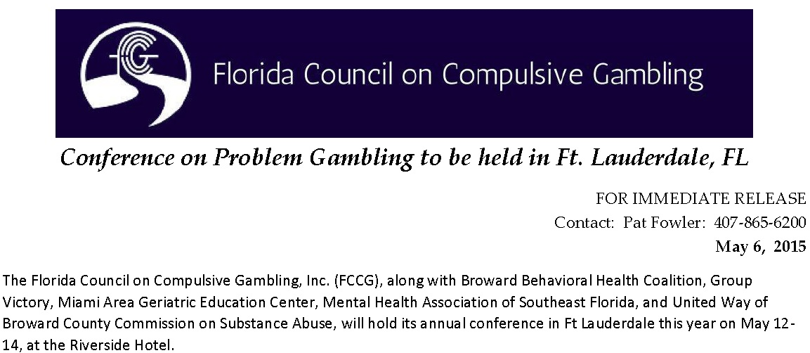 Press Release - Conference on Problem Gambling to be held in Ft. Lauderdale, FL