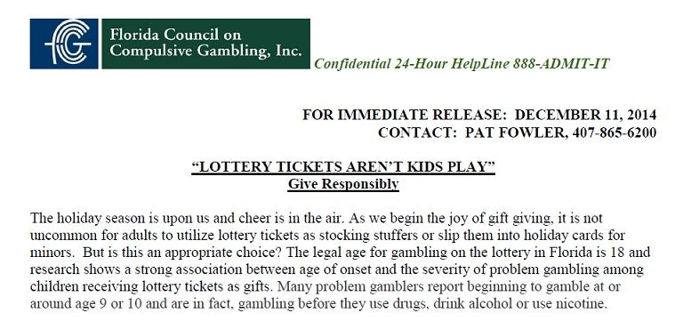 "Press Release: ""LOTTERY TICKETS AREN'T KIDS PLAY"""