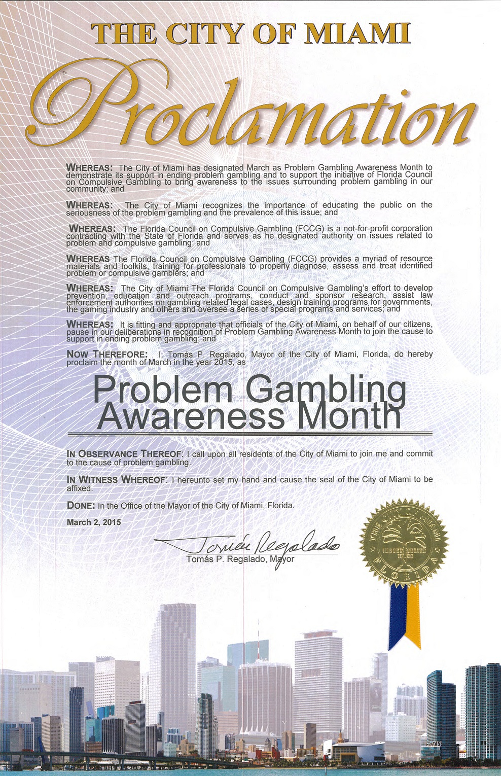 City of Miami Proclamtion for Problem Gambling Awareness Month