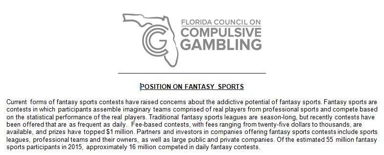POSITION ON FANTASY SPORTS